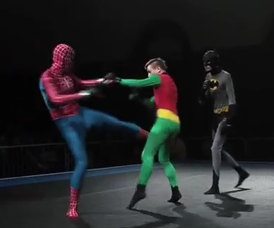 Combat MMA : Spiderman vs Batman et Robin
